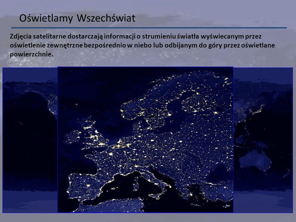 Zdjęcia satelitarne dostarczają informacji o strumieniu światła wyświecanym przez oświetlenie zewnętrzne bezpośrednio w niebo lub odbijanym do góry pr