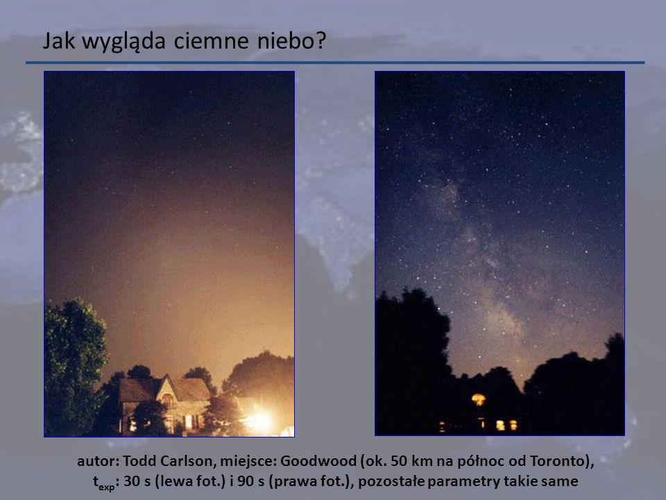 Jak wygląda ciemne niebo? autor: Todd Carlson, miejsce: Goodwood (ok. 50 km na północ od Toronto), t exp : 30 s (lewa fot.) i 90 s (prawa fot.), pozos