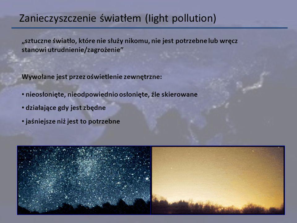 ucieczka światła do obszarów, które nie powinny być oświetlane lub nie są celem danego oświetlania emisja światła w ilości większej niż jest wymagane olśniewanie źródłami światła świecącymi wprost do oczu użytkownikom chaos świetlny prowadzący do dezorientacji lub/i odwracający uwagę od przeszkód sztuczne rozświetlenie nocnego nieba (łuna) Kategorie zanieczyszczenia