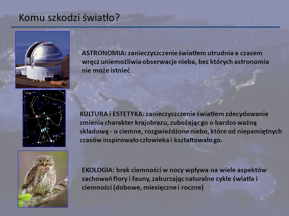 ASTRONOMIA: zanieczyszczenie światłem utrudnia a czasem wręcz uniemożliwia obserwacje nieba, bez których astronomia nie może istnieć Komu szkodzi świa