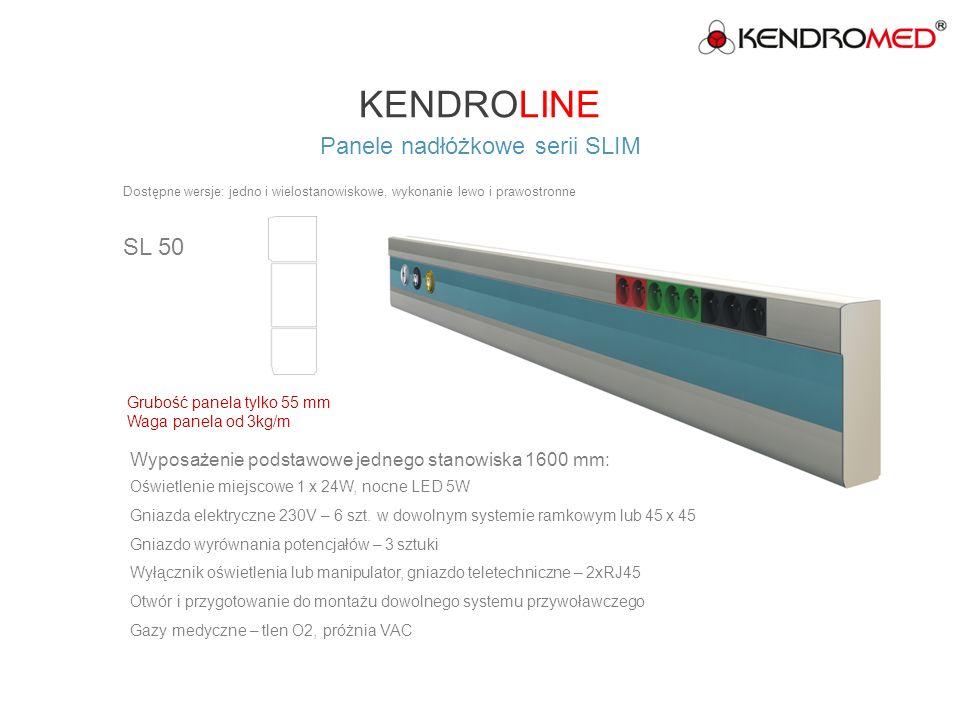 KENDROLINE Panele nadłóżkowe serii SLIM SL 70 Wyposażenie podstawowe jednego stanowiska 1600 mm: Oświetlenie górne 2 x 54W EVG, miejscowe 1 x 18W, nocne 7W Gniazda elektryczne 230V – 4 szt.