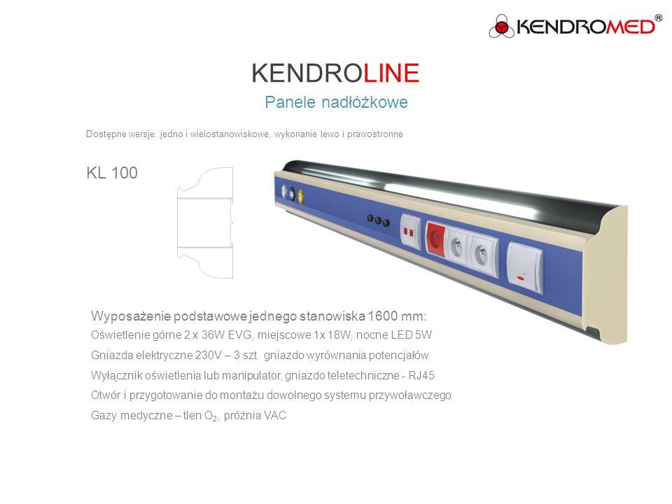 KENDROLINE Panele nadłóżkowe KL 200 Dostępne wersje: jedno i wielostanowiskowe, wykonanie lewo i prawostronne Wyposażenie podstawowe jednego stanowiska 1600 mm: Oświetlenie górne 2 x 54W EVG, miejscowe 1x18W, nocne LED 5W Gniazda elektryczne 230V – 3szt., gniazdo wyrównania potencjałów Wyłącznik oświetlenia lub manipulator, gniazdo teletechniczne - RJ45 Otwór i przygotowanie do montażu dowolnego systemu przywoławczego Gazy medyczne – tlen O 2, próżnia VAC