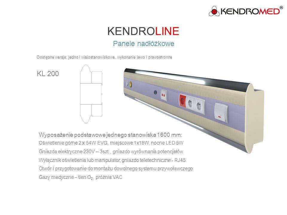 KENDROLINE Panele nadłóżkowe KL 300 Dostępne wersje: jedno i wielostanowiskowe, wykonanie lewo i prawostronne Wyposażenie podstawowe jednego stanowiska 1600 mm: Oświetlenie górne 2 x 54W EVG, miejscowe 1x24W EVG, nocne LED 5W Gniazda elektryczne 230V – 3 szt, DATA 1 – szt.
