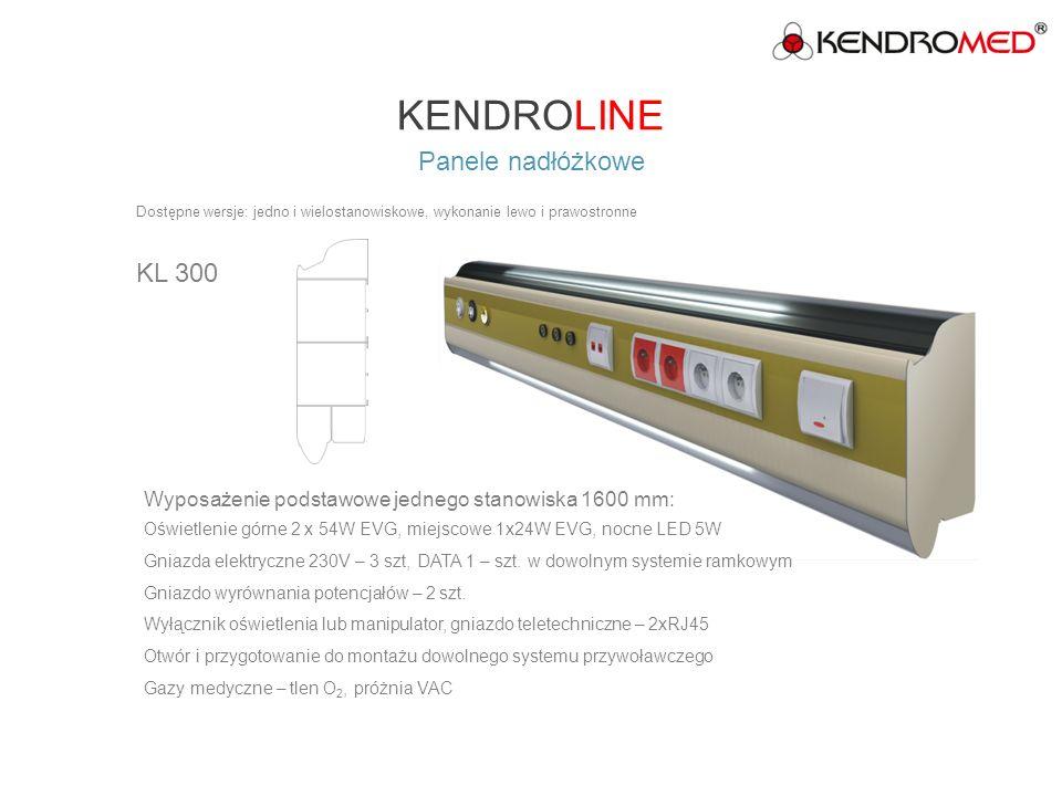 KENDROLINE Panele nadłóżkowe KL 400 Wyposażenie podstawowe jednego stanowiska 1600 mm: Oświetlenie górne 2 x 54W EVG, miejscowe 1 x 24W EVG, nocne LED 5W Gniazda elektryczne 230V – 4 szt, DATA 2 – szt.