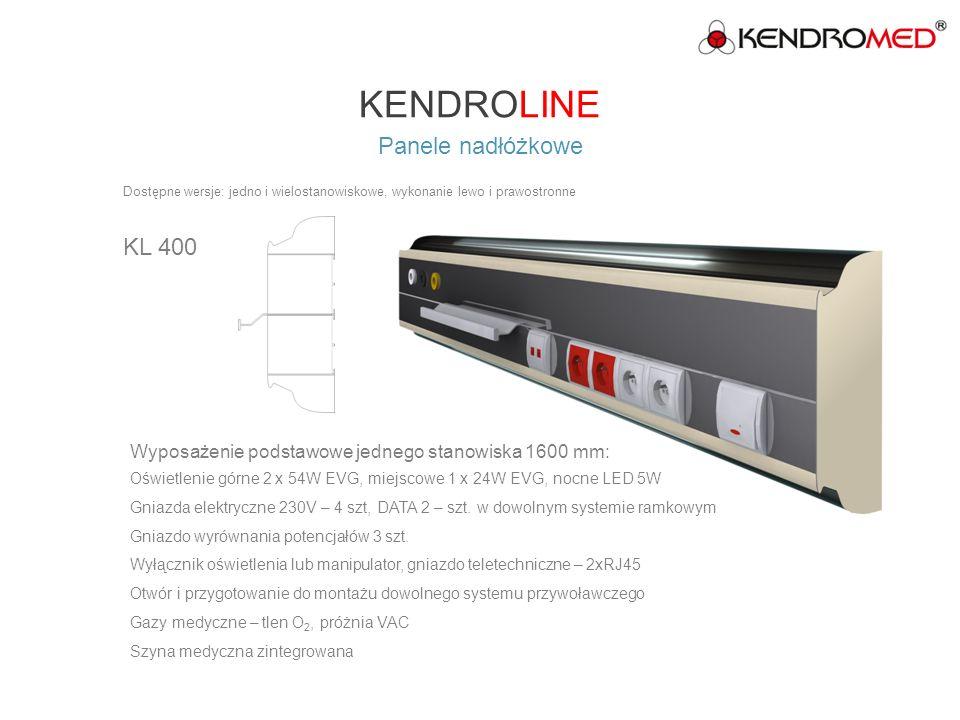 KENDROLINE Panele nadłóżkowe KL 500 Dostępne wersje: jedno i wielostanowiskowe, wykonanie lewo i prawostronne Wyposażenie podstawowe jednego stanowiska 1600 mm: Oświetlenie górne 2 x z35W T5 EVG, miejscowe 1x18 W EVG, nocne LED 5W Gniazda elektryczne 230V – 2szt, DATA 2 – szt.