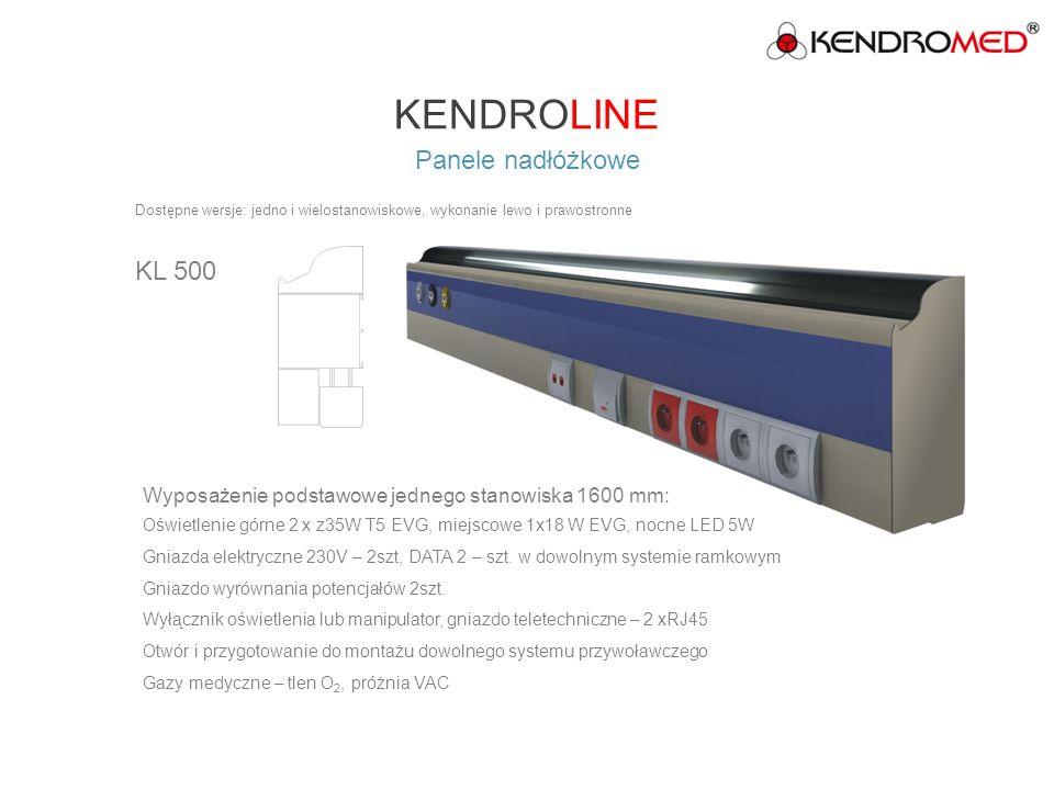 KENDROLINE Panele nadłóżkowe KL 600 Wyposażenie podstawowe jednego stanowiska 1600 mm: Wyposażenie podstawowe jednego stanowiska 1600 mm Oświetlenie górne 2 x 54W EVG, miejscowe 1 x 24W EVG, nocne LED 5W Gniazda elektryczne 230V – 4 szt, gniazdo DATA 2 –szt.