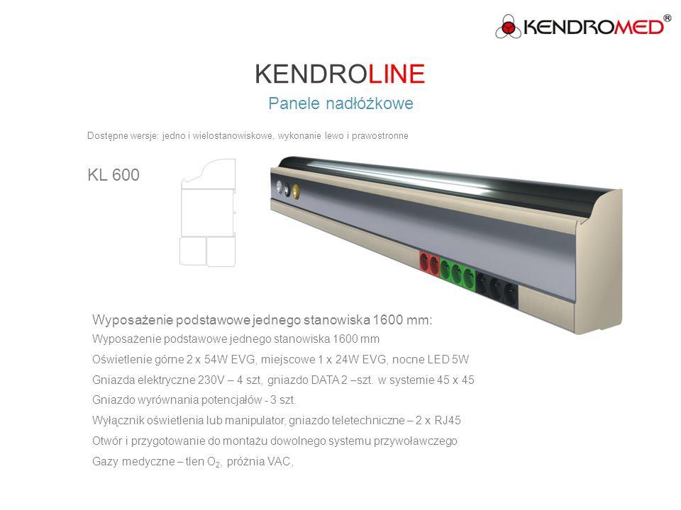 KENDROLINE Panele nadłóżkowe serii SLIM SL 30 Wyposażenie podstawowe jednego stanowiska 1600 mm: Oświetlenie górne 2x54W EVG, miejscowe 1x18W, nocne LED 5W Gniazda elektryczne 230V – 4 szt.
