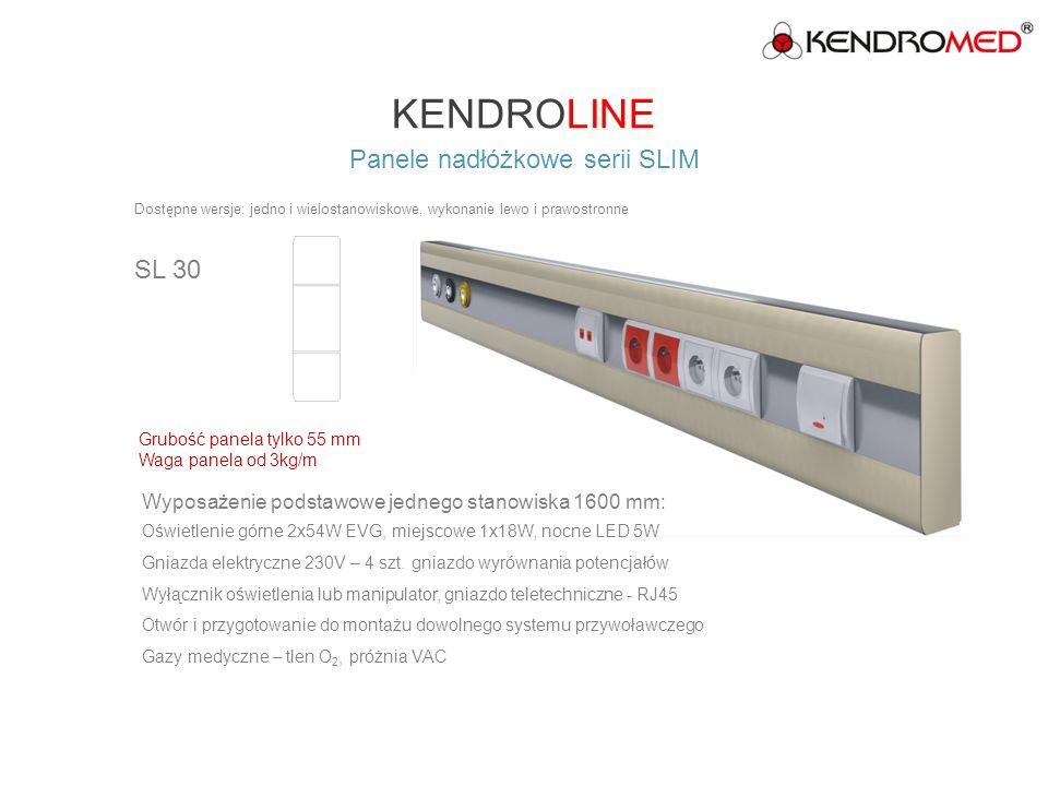 KENDROLINE Panele nadłóżkowe serii SLIM SL 50 Wyposażenie podstawowe jednego stanowiska 1600 mm: Oświetlenie miejscowe 1 x 24W, nocne LED 5W Gniazda elektryczne 230V – 6 szt.