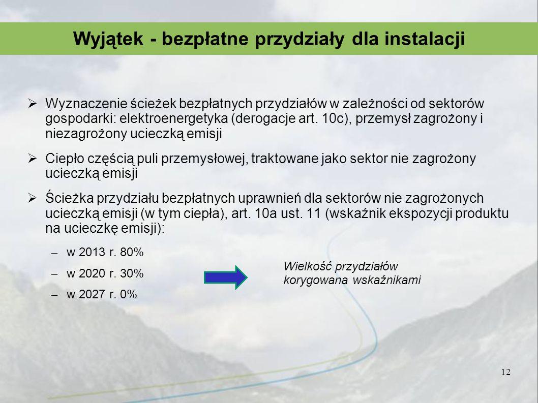 Wyznaczenie ścieżek bezpłatnych przydziałów w zależności od sektorów gospodarki: elektroenergetyka (derogacje art. 10c), przemysł zagrożony i niezagro