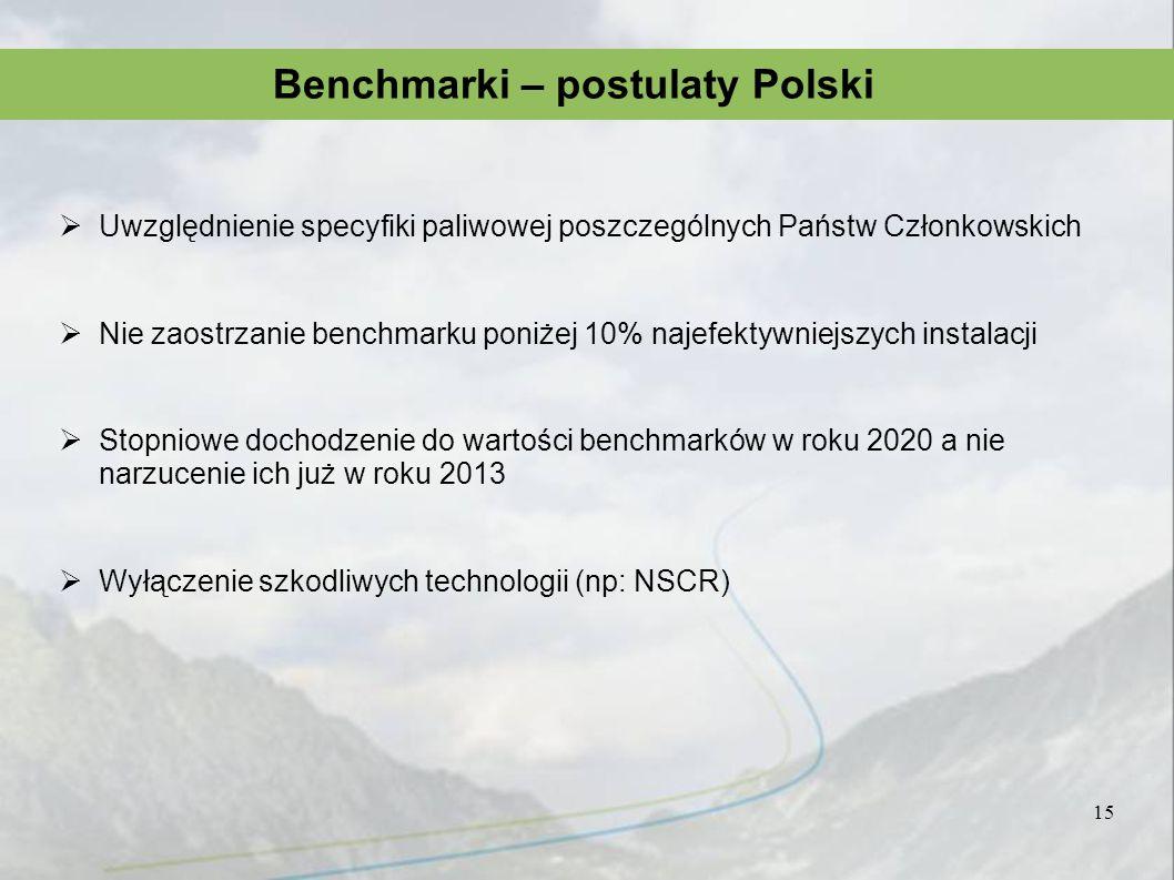 Uwzględnienie specyfiki paliwowej poszczególnych Państw Członkowskich Nie zaostrzanie benchmarku poniżej 10% najefektywniejszych instalacji Stopniowe
