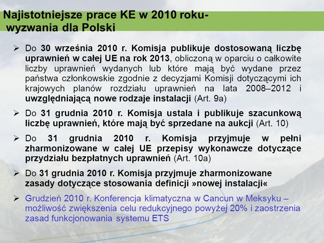 Najistotniejsze prace KE w 2010 roku- wyzwania dla Polski Do 30 września 2010 r. Komisja publikuje dostosowaną liczbę uprawnień w całej UE na rok 2013