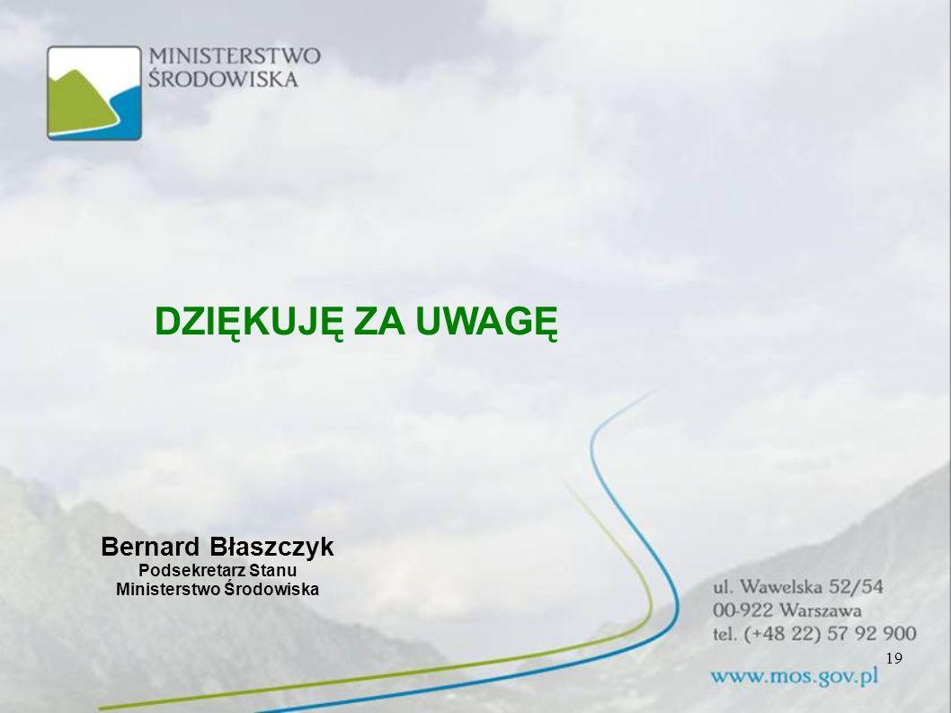 19 DZIĘKUJĘ ZA UWAGĘ Bernard Błaszczyk Podsekretarz Stanu Ministerstwo Środowiska