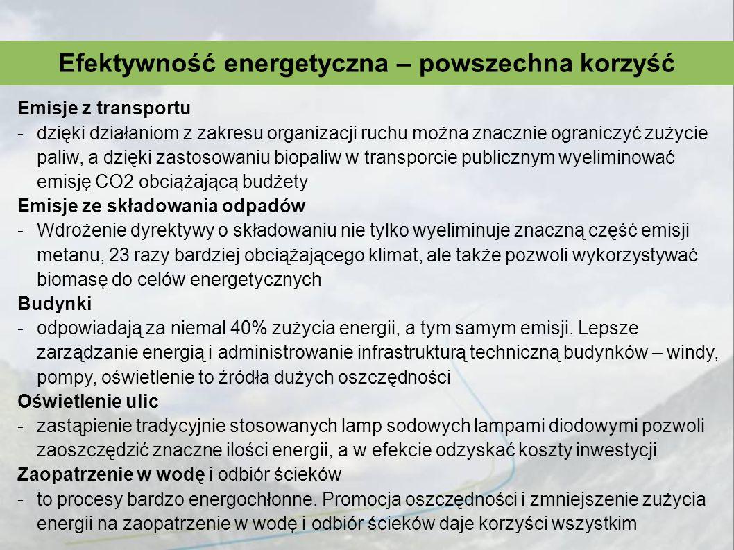 Efektywność energetyczna – powszechna korzyść Emisje z transportu -dzięki działaniom z zakresu organizacji ruchu można znacznie ograniczyć zużycie pal