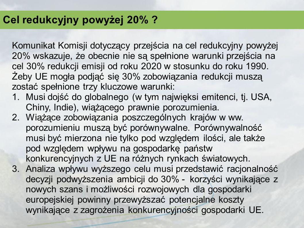 Cel redukcyjny powyżej 20% ? Komunikat Komisji dotyczący przejścia na cel redukcyjny powyżej 20% wskazuje, że obecnie nie są spełnione warunki przejśc