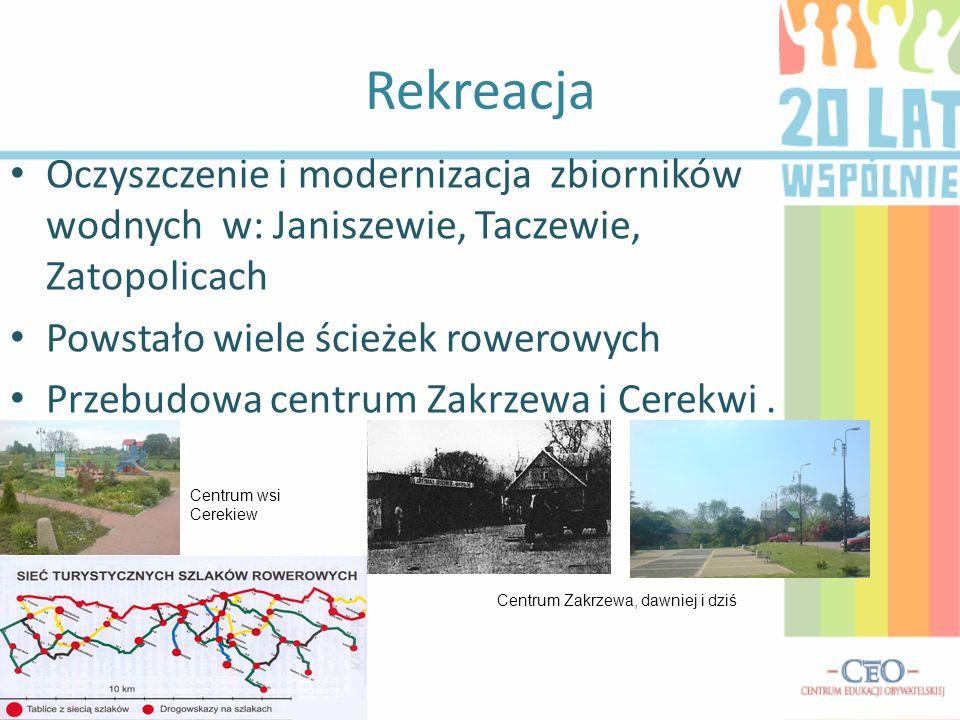 Rekreacja Oczyszczenie i modernizacja zbiorników wodnych w: Janiszewie, Taczewie, Zatopolicach Powstało wiele ścieżek rowerowych Przebudowa centrum Za