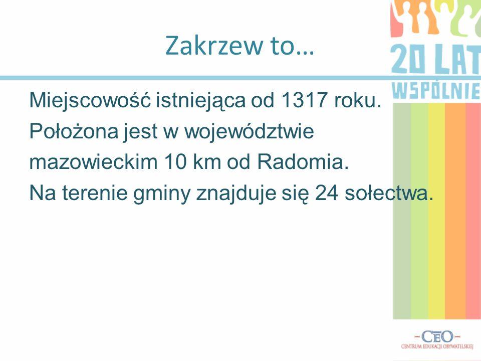 Zakrzew to… Miejscowość istniejąca od 1317 roku. Położona jest w województwie mazowieckim 10 km od Radomia. Na terenie gminy znajduje się 24 sołectwa.