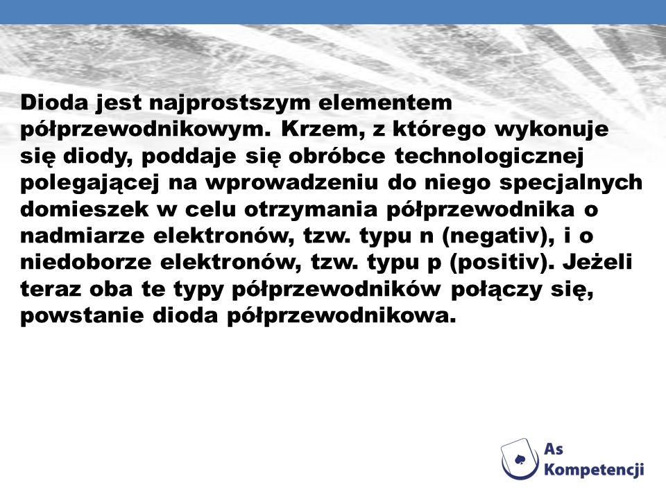 Dioda jest najprostszym elementem półprzewodnikowym. Krzem, z którego wykonuje się diody, poddaje się obróbce technologicznej polegającej na wprowadze