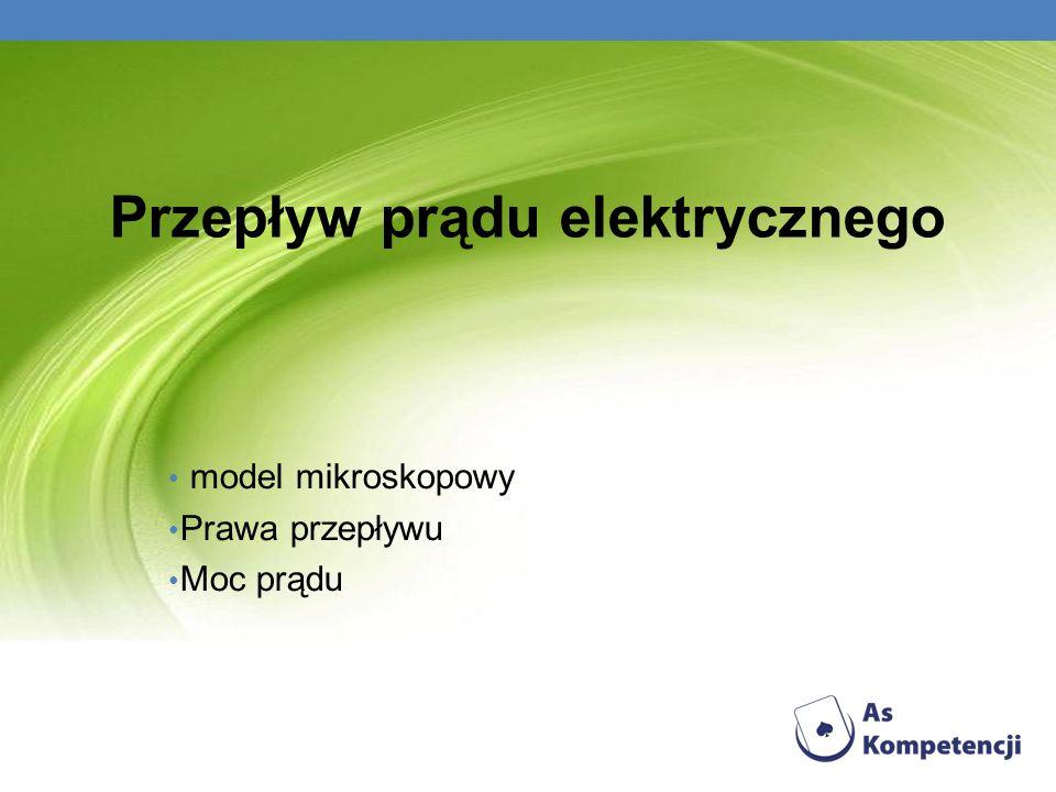 Przepływ prądu elektrycznego model mikroskopowy Prawa przepływu Moc prądu