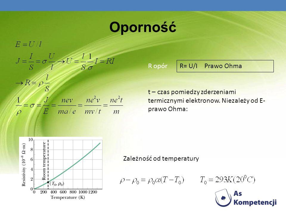 Oporność R opór t – czas pomiedzy zderzeniami termicznymi elektronow. Niezależy od E- prawo Ohma: Zależność od temperatury R= U/I Prawo Ohma