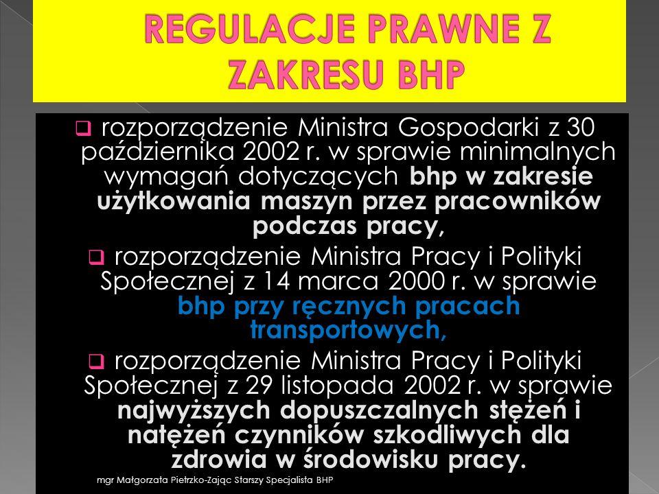 rozporządzenie Ministra Gospodarki z 30 października 2002 r. w sprawie minimalnych wymagań dotyczących bhp w zakresie użytkowania maszyn przez pracown