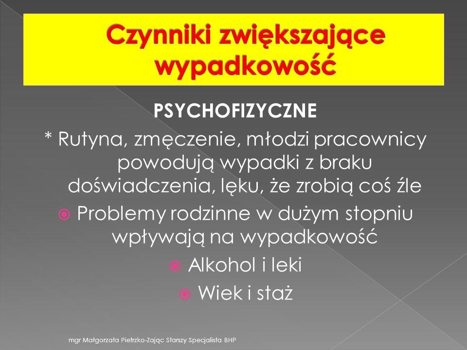 PSYCHOFIZYCZNE * Rutyna, zmęczenie, młodzi pracownicy powodują wypadki z braku doświadczenia, lęku, że zrobią coś źle Problemy rodzinne w dużym stopni