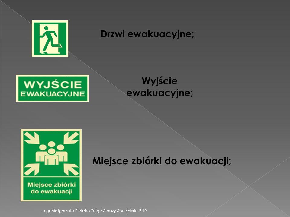 Drzwi ewakuacyjne; Wyjście ewakuacyjne; Miejsce zbiórki do ewakuacji; mgr Małgorzata Pietrzko-Zając Starszy Specjalista BHP