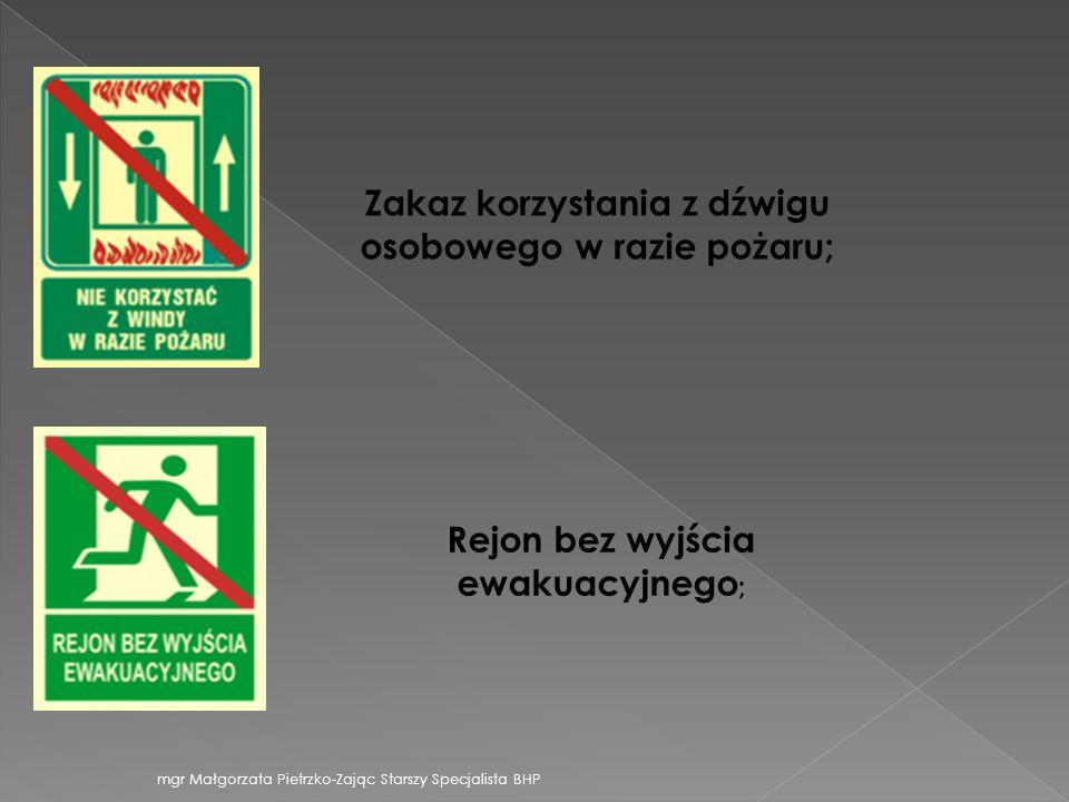 Zakaz korzystania z dźwigu osobowego w razie pożaru; Rejon bez wyjścia ewakuacyjnego ; mgr Małgorzata Pietrzko-Zając Starszy Specjalista BHP