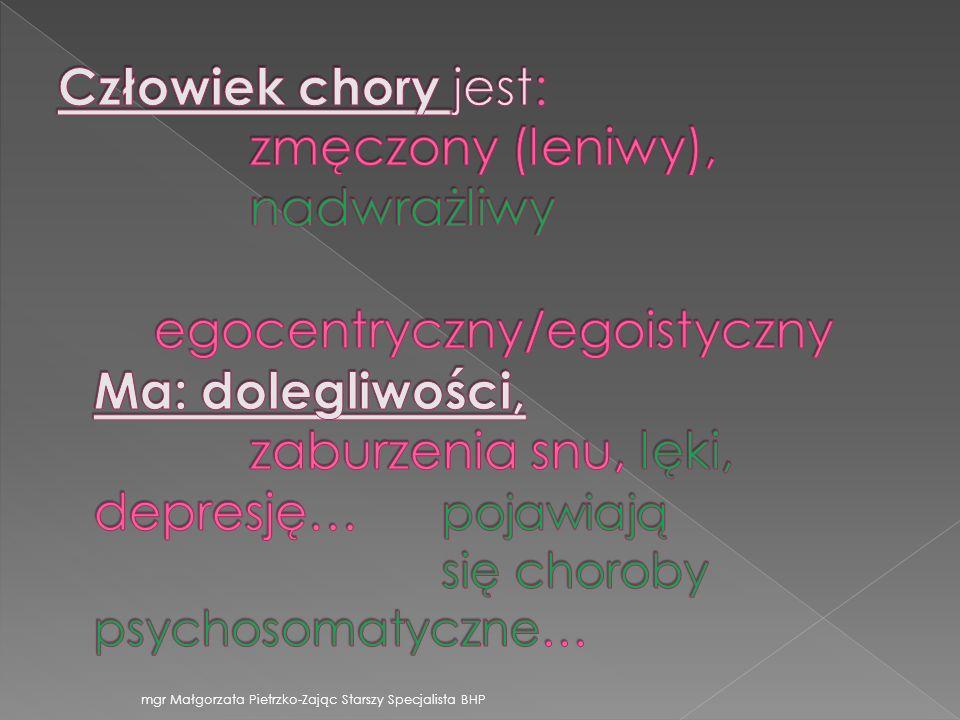 mgr Małgorzata Pietrzko-Zając Starszy Specjalista BHP