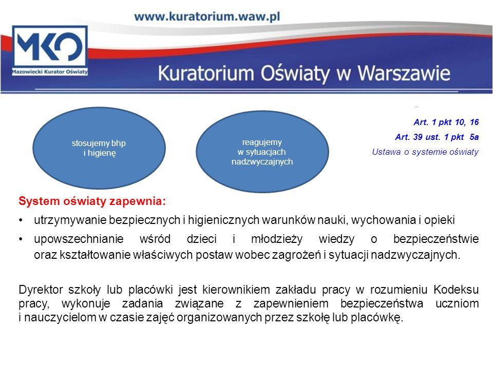 Art. 1 pkt 10, 16 Art. 39 ust. 1 pkt 5a Ustawa o systemie oświaty System oświaty zapewnia: utrzymywanie bezpiecznych i higienicznych warunków nauki, w