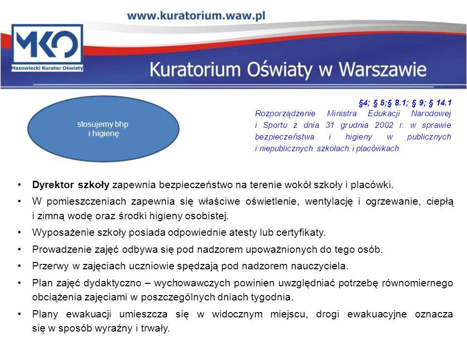 Podstawy prawne Rozporządzenie Ministra Edukacji Narodowej i Sportu z dnia 31 grudnia 2002 r.