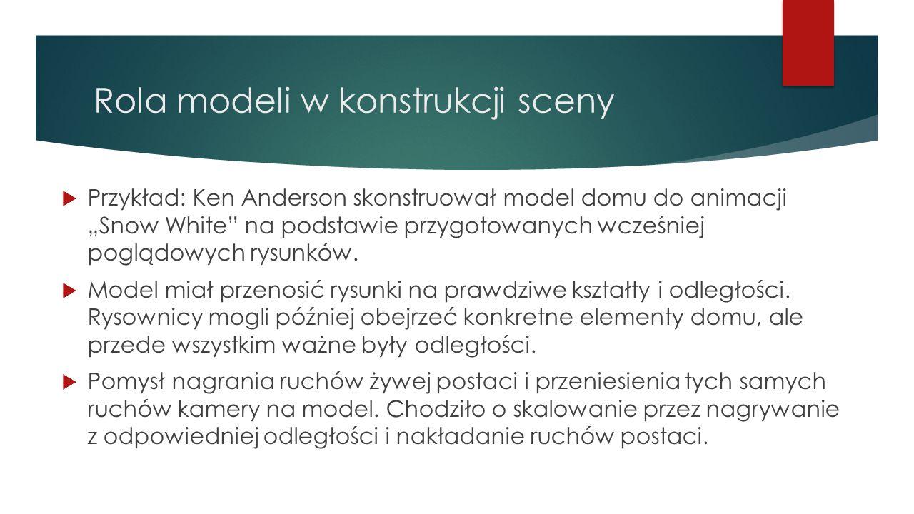 Rola modeli w konstrukcji sceny Przykład: Ken Anderson skonstruował model domu do animacji Snow White na podstawie przygotowanych wcześniej poglądowyc
