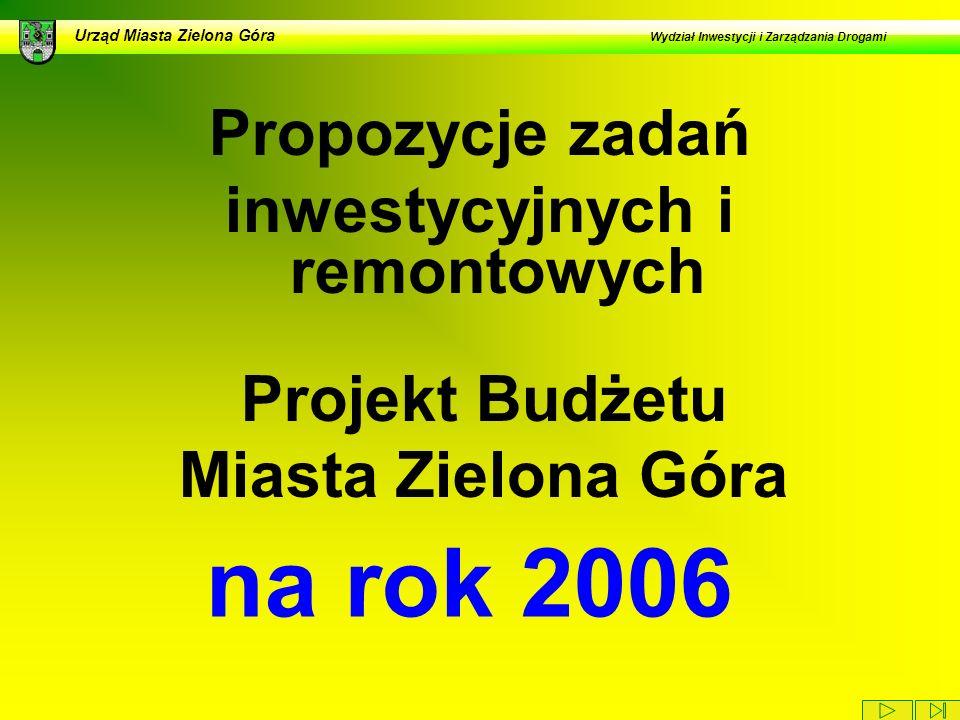 Urząd Miasta Zielona Góra Wydział Inwestycji i Zarządzania Drogami Propozycje zadań inwestycyjnych i remontowych na rok 2006 Projekt Budżetu Miasta Zielona Góra