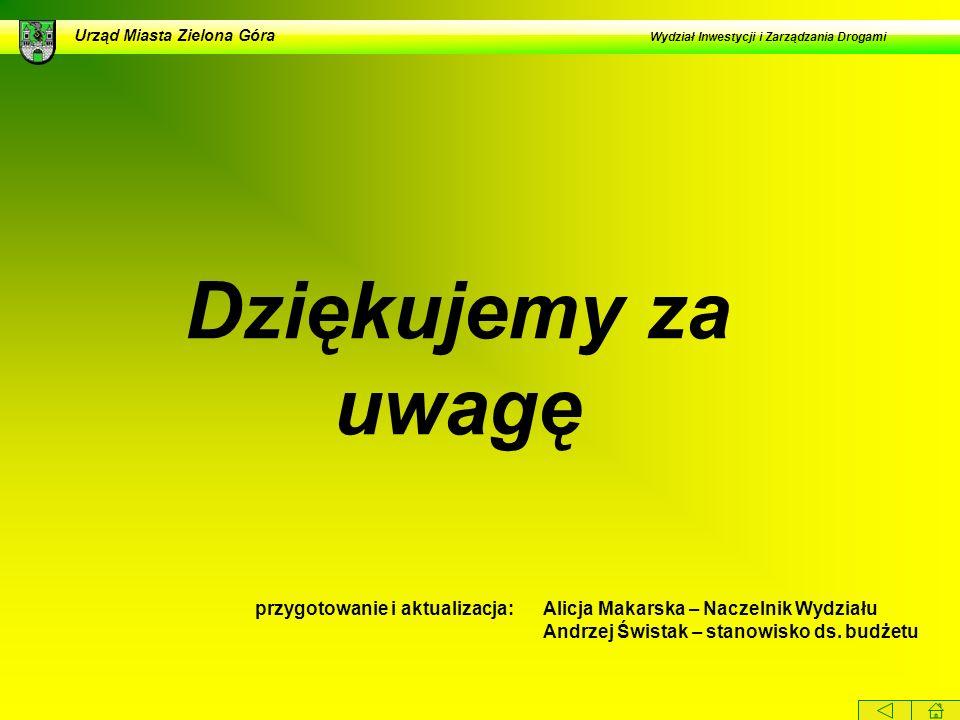 Dziękujemy za uwagę przygotowanie i aktualizacja:Alicja Makarska – Naczelnik Wydziału Andrzej Świstak – stanowisko ds. budżetu Urząd Miasta Zielona Gó