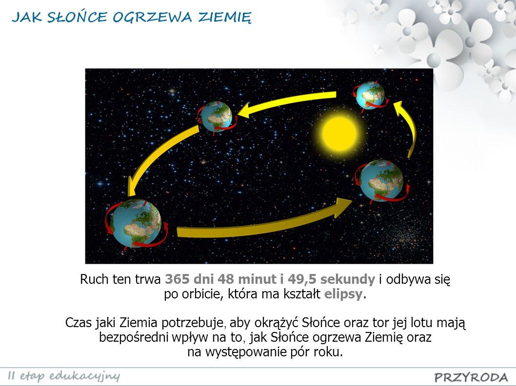 Ruch ten trwa 365 dni 48 minut i 49,5 sekundy i odbywa się po orbicie, która ma kształt elipsy. Czas jaki Ziemia potrzebuje, aby okrążyć Słońce oraz t