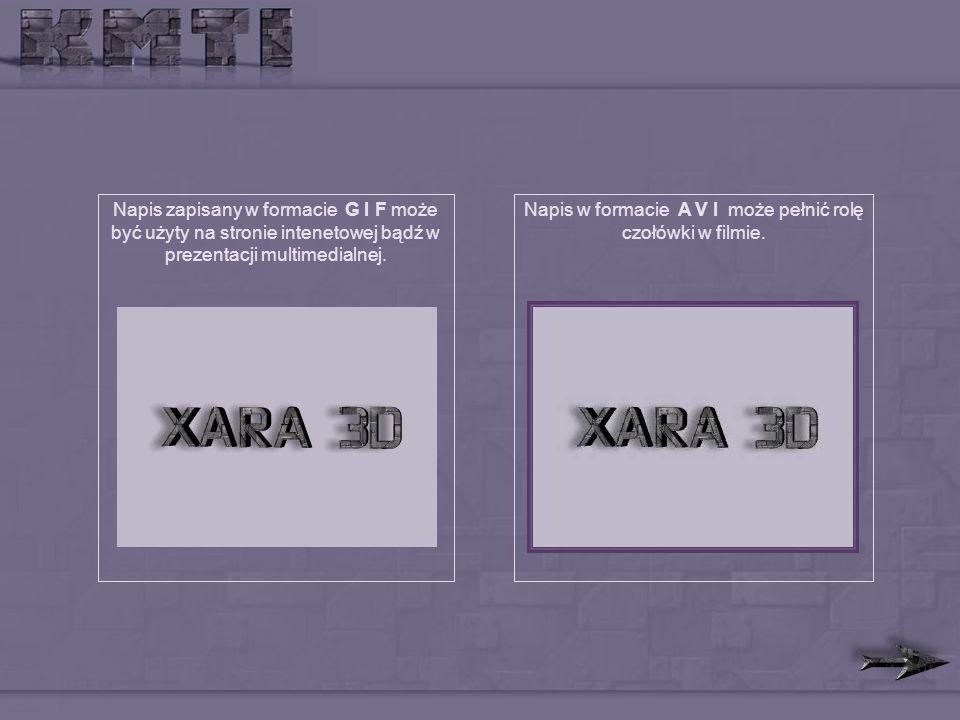 Napis zapisany w formacie G I F może być użyty na stronie intenetowej bądź w prezentacji multimedialnej.