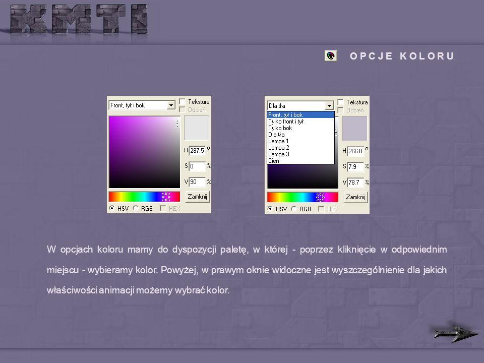 O P C J E K O L O R U W opcjach koloru mamy do dyspozycji paletę, w której - poprzez kliknięcie w odpowiednim miejscu - wybieramy kolor.