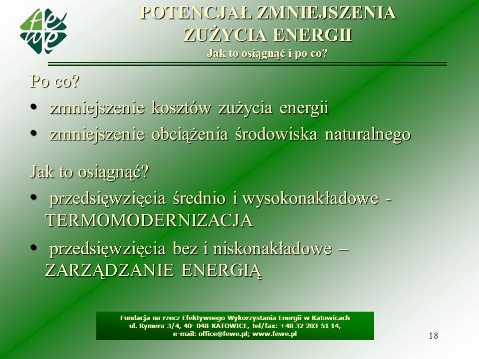 18 POTENCJAŁ ZMNIEJSZENIA ZUŻYCIA ENERGII Jak to osiągnąć i po co? Po co? zmniejszenie kosztów zużycia energii zmniejszenie kosztów zużycia energii zm