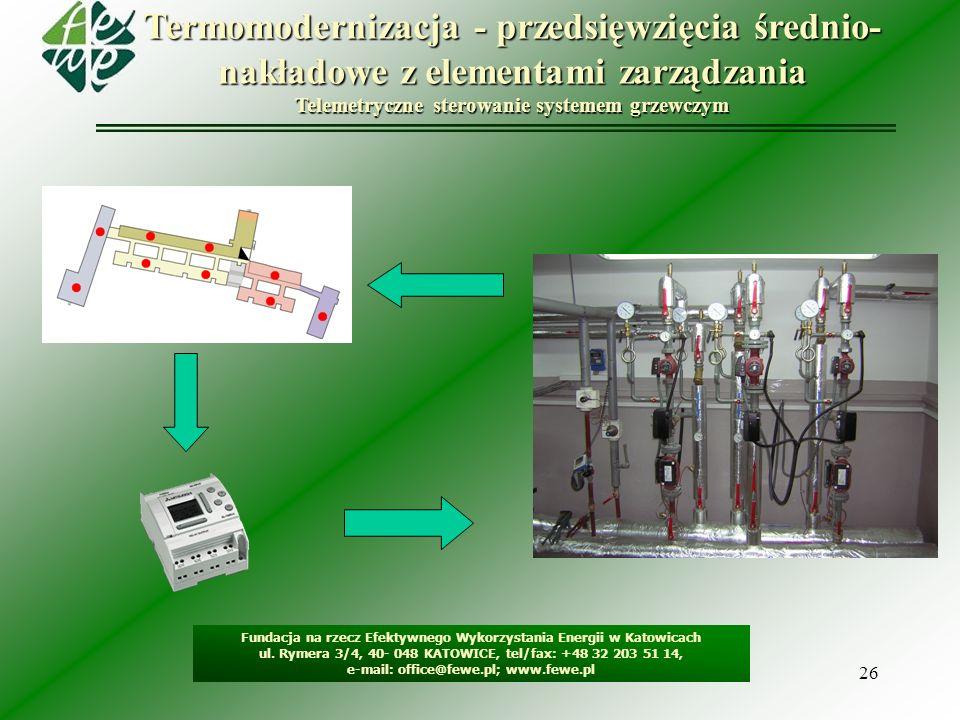 26 Termomodernizacja - przedsięwzięcia średnio- nakładowe z elementami zarządzania Telemetryczne sterowanie systemem grzewczym Fundacja na rzecz Efekt
