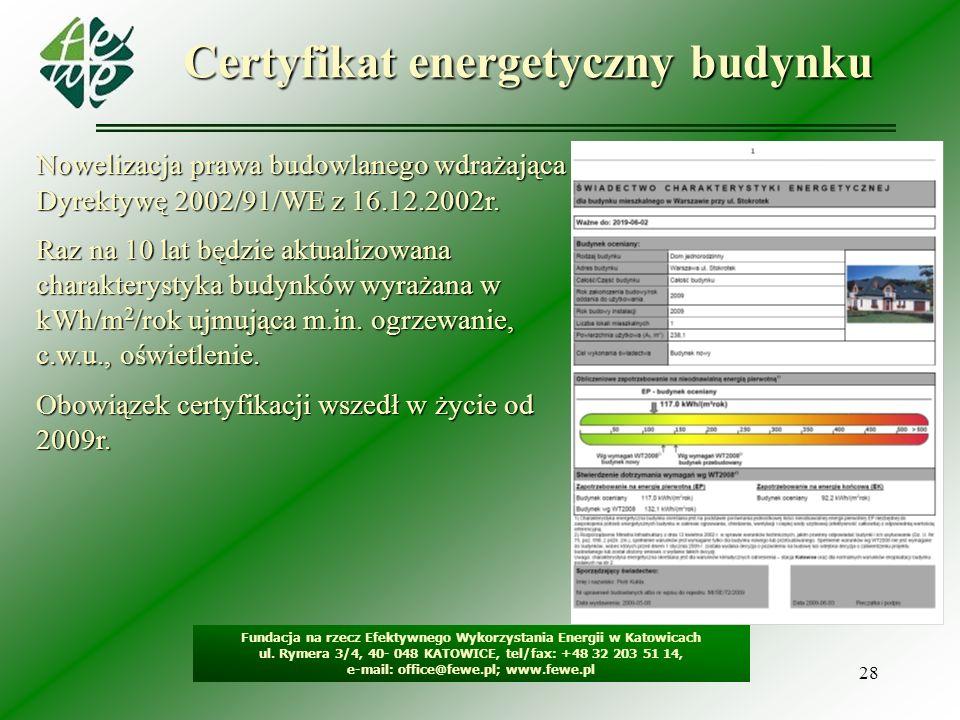 28 Certyfikat energetyczny budynku Nowelizacja prawa budowlanego wdrażająca Dyrektywę 2002/91/WE z 16.12.2002r. Raz na 10 lat będzie aktualizowana cha