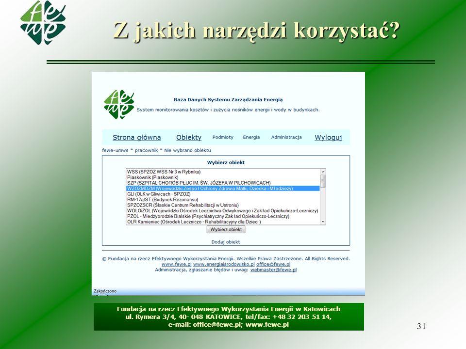 31 Z jakich narzędzi korzystać? Fundacja na rzecz Efektywnego Wykorzystania Energii w Katowicach ul. Rymera 3/4, 40- 048 KATOWICE, tel/fax: +48 32 203