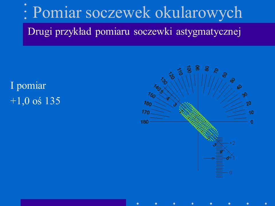 Pomiar soczewek okularowych I pomiar +1,0 oś 135 Drugi przykład pomiaru soczewki astygmatycznej