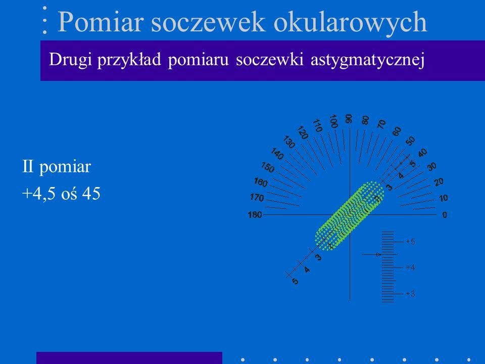 Pomiar soczewek okularowych II pomiar +4,5 oś 45 Drugi przykład pomiaru soczewki astygmatycznej