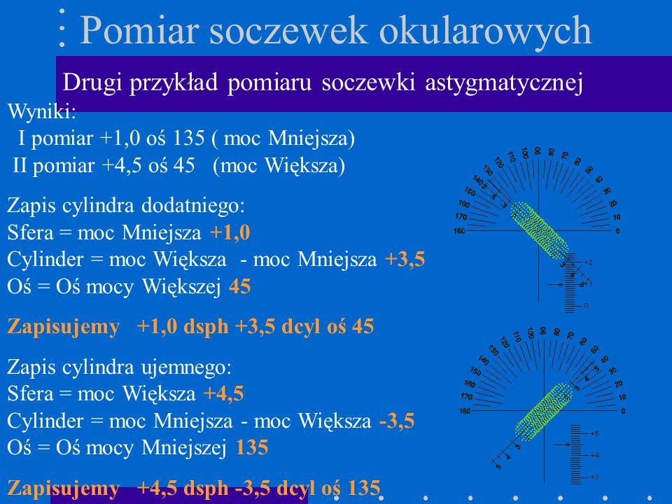 Pomiar soczewek okularowych Drugi przykład pomiaru soczewki astygmatycznej Wyniki: I pomiar +1,0 oś 135 ( moc Mniejsza) II pomiar +4,5 oś 45 (moc Więk