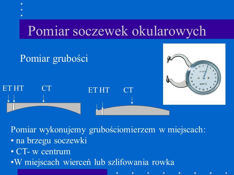 Pomiar soczewek okularowych Pomiar grubości Pomiar wykonujemy grubościomierzem w miejscach: na brzegu soczewki CT- w centrum W miejscach wierceń lub s