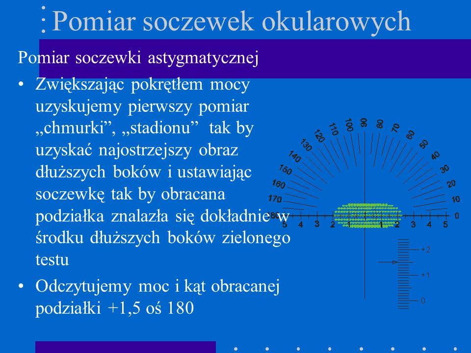 Pomiar soczewek okularowych Pomiar soczewki astygmatycznej Zwiększając pokrętłem mocy uzyskujemy pierwszy pomiar chmurki, stadionu tak by uzyskać najo
