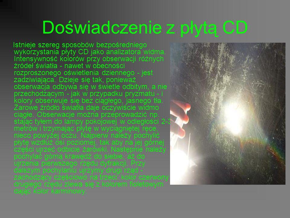 Doświadczenie z płytą CD Istnieje szereg sposobów bezpośredniego wykorzystania płyty CD jako analizatora widma.