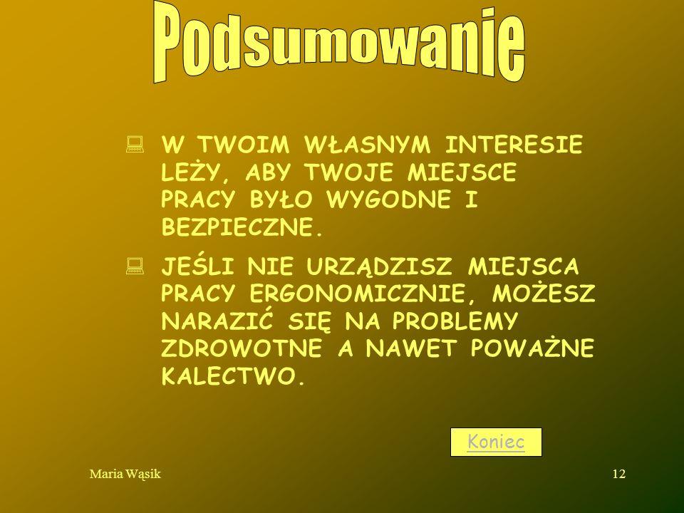 Maria Wąsik12 W TWOIM WŁASNYM INTERESIE LEŻY, ABY TWOJE MIEJSCE PRACY BYŁO WYGODNE I BEZPIECZNE. JEŚLI NIE URZĄDZISZ MIEJSCA PRACY ERGONOMICZNIE, MOŻE