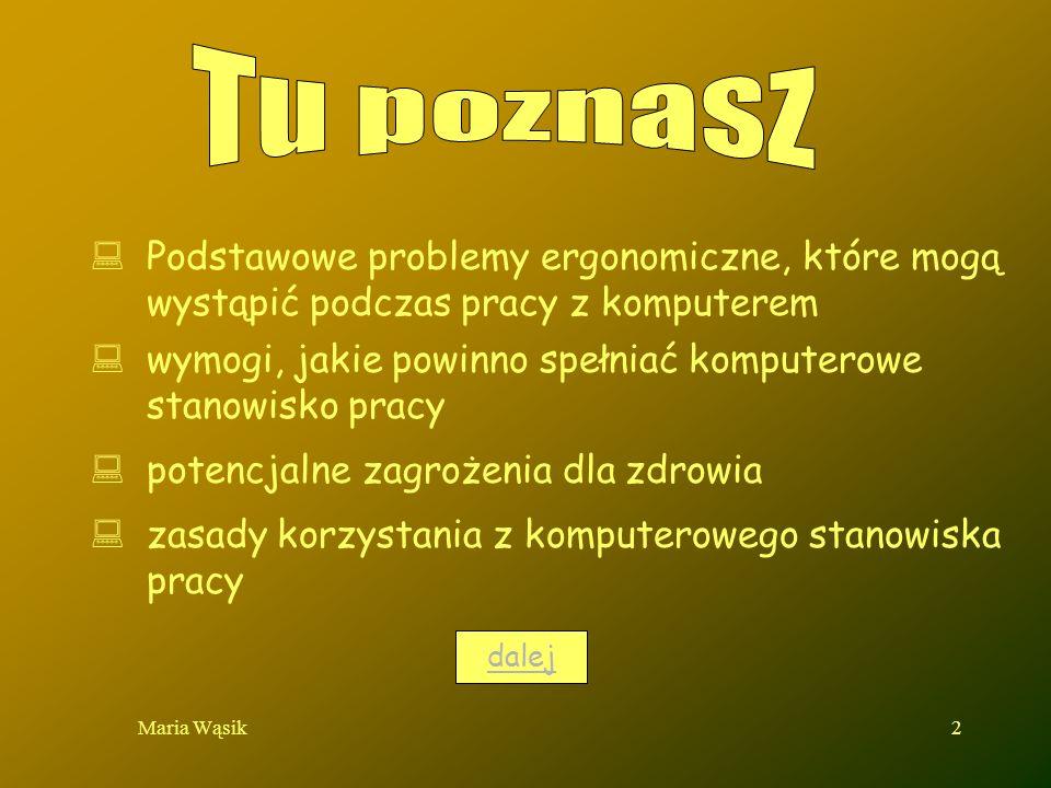 Maria Wąsik2 Podstawowe problemy ergonomiczne, które mogą wystąpić podczas pracy z komputerem wymogi, jakie powinno spełniać komputerowe stanowisko pr
