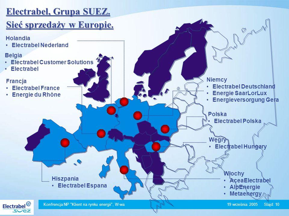 Konfrencja NP Klient na rynku energii , W-wa 19 września 2005Slajd: 10 Electrabel, Grupa SUEZ.