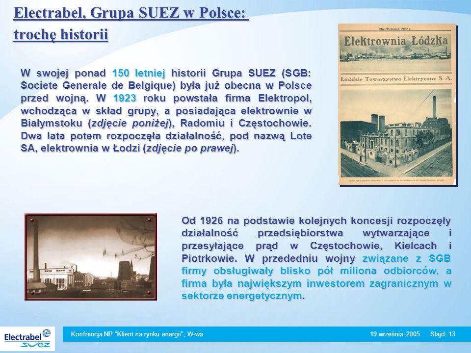 Konfrencja NP Klient na rynku energii , W-wa 19 września 2005Slajd: 13 Electrabel, Grupa SUEZ w Polsce: trochę historii W swojej ponad 150 letniej historii Grupa SUEZ (SGB: Societe Generale de Belgique) była już obecna w Polsce przed wojną.